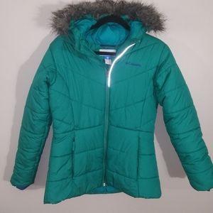 Columbia puffer jacket w/faux fur hood